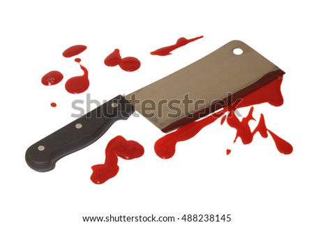 A closeup of a bloody butcher knife over white.