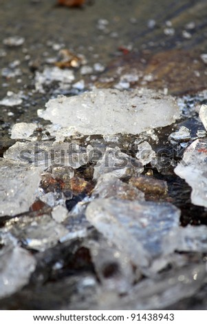 A closeup of a broken ice on a street - stock photo