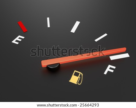 A closeup of a car fuel gauge showing full - stock photo
