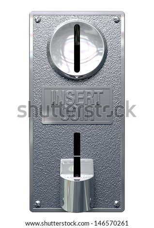 A closeup of a metal coin slot panel from a coin operated machine with entry and exit slots on an isolated background - stock photo