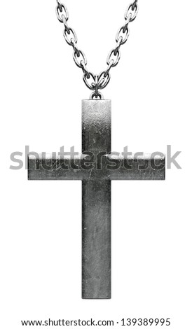 A closeup of a plain metal crucifix attached to a metal chain on an isolated background - stock photo