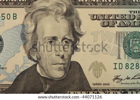 A closeup of a US 20 Dollar Bill - stock photo