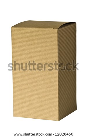 A closeup of an isolated, plain, brown corrugated cardboard gift box. - stock photo