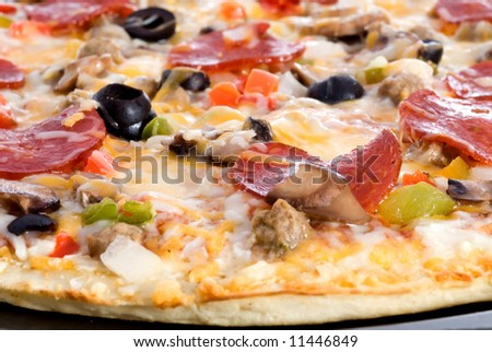 A closeup of freshly cooked pizza