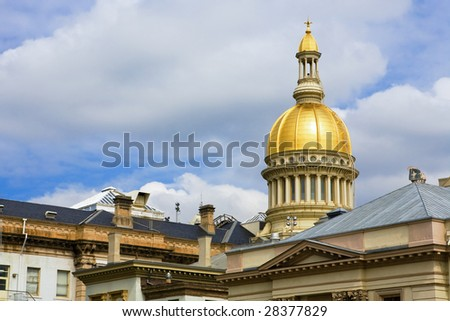 A closeup of New Jersey's State House dome and top of State House - stock photo