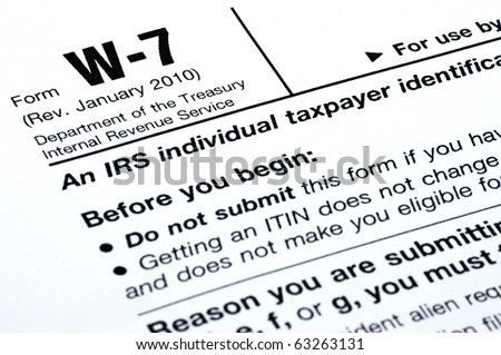 Closeup Parts Irs Form W7 Stock Photo Royalty Free 63263131