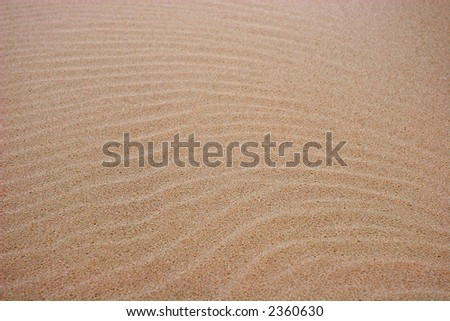 A closeup of patterns in the sand