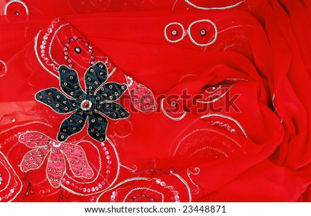 A closeup of red sari - stock photo