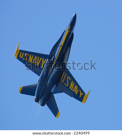 A closeup of the belly of the Blue Angel F18 plane at the Fleet Week, 2006 in San Francisco, California. - stock photo