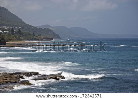 a closeup of the Wollongong coastline - stock photo