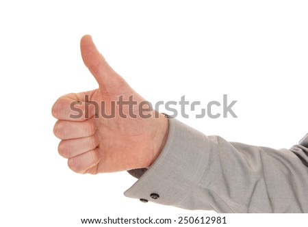 A closeup picture of a man's hand with the thump up, isolated on white background.  - stock photo