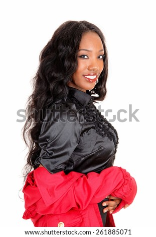 A  closeup picture of a pretty African American woman in a black blouse