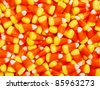 A closeup pile of colorful Halloween candy corn - stock photo
