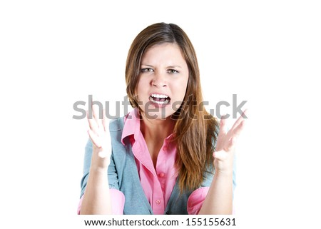 A closeup portrait of a angry, screaming businesswoman, boss, student, worker, employee going through a conflict in her life, isolated on a white background