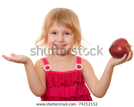A closeup portrait of a cheerful blonde girl holding a big red apple in her hands; isolated on the white background