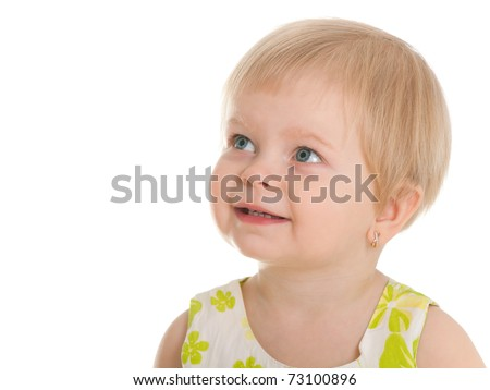 A closeup portrait of a cheerful blonde little girl; isolated on the white background - stock photo