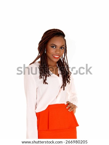 A closeup shoot of a slim young African American woman with her long