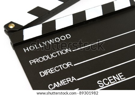 A closeup shot of a hollywood clapboard for film production. - stock photo