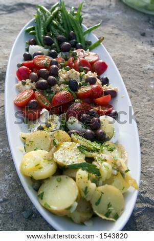 A closeup shot of a nicely arranged Salad Nicoise on a large stone - stock photo