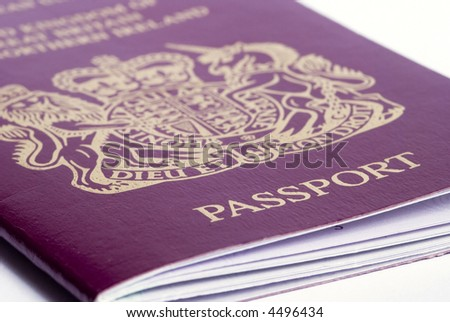 A closeup shot of a passport on a white background - stock photo
