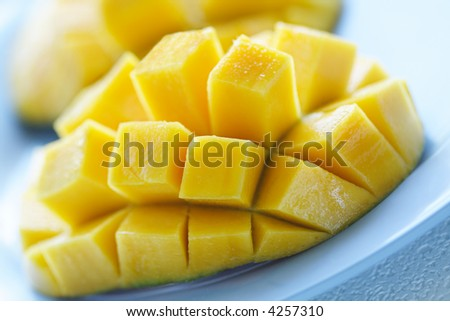 A closeup shot of a ripe and juicy mango