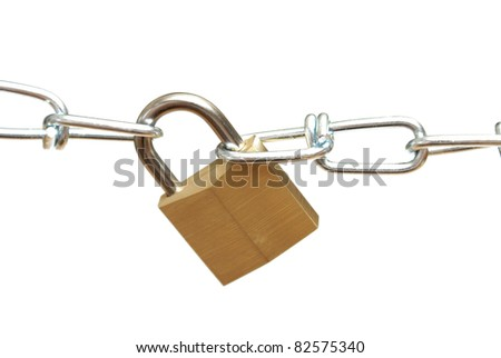 A closeup shot of a secure padlock and chain link. - stock photo