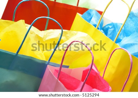 A closeup shot of colorful shopping bags - stock photo