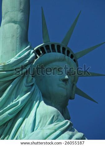 A closeup shot of the statue of liberty - stock photo