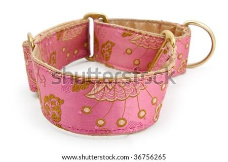 A closeup studio shot of a pink embroidered dog collar. - stock photo