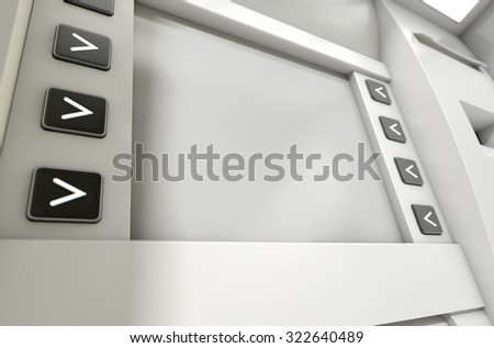 A closeup view of a blank generic atm screen
