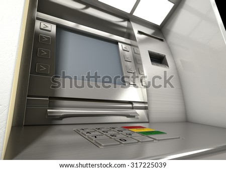 A closeup view of a generic atm facade with an illuminated screen and keypad