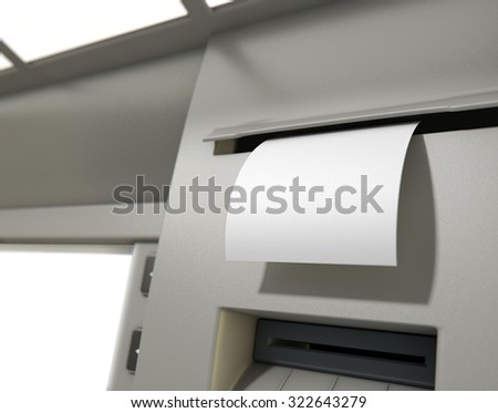 A closeup view of the slip printing section of an atm with a blank receipt