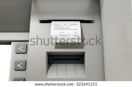A closeup view of the slip printing section of an atm with a withdrawal receipt - stock photo