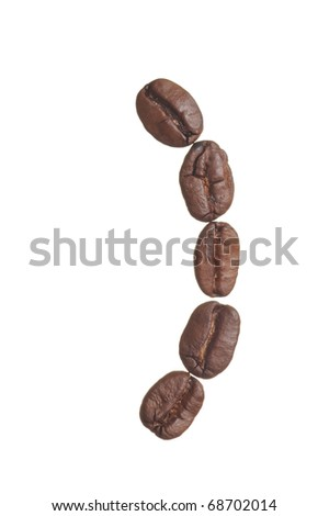 A closing parenthesis spelled in coffee beans, isolated on a white background. Macro resolution.