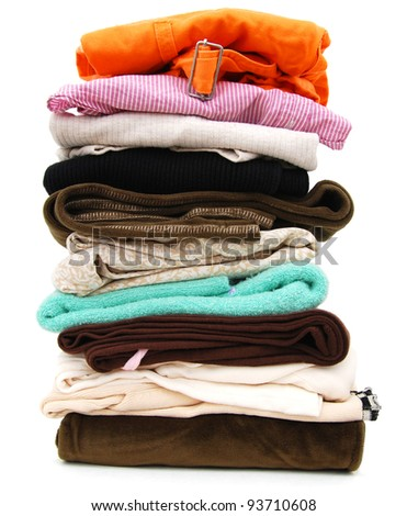 A clothing pile in housework - stock photo