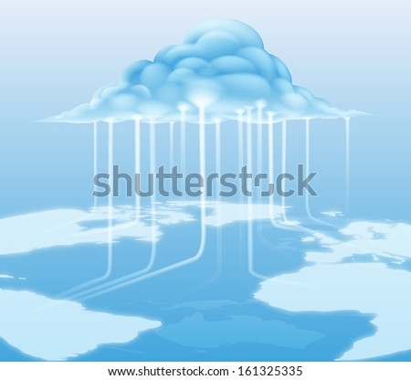A cloud computing internet concept with information flowing to and from the cloud