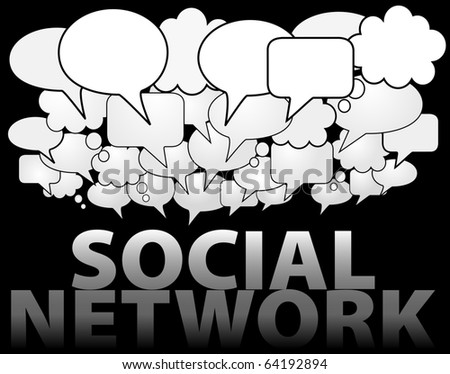A cloud of SOCIAL NETWORK media speech and thought bubbles as symbol of communication - stock photo