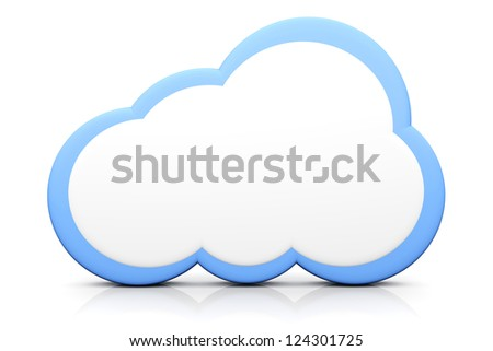 A cloud symbol. 3D rendered illustration. - stock photo