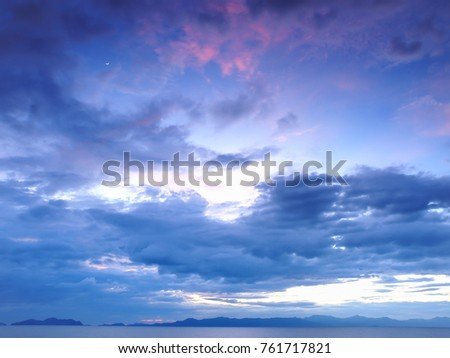 A cloudy, blue sky at sunset near Ko Chang, Thailand.