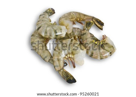 A Cluster of Raw Shrimp Isolated on White - stock photo