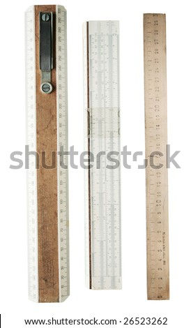 A 30 cm wooden rulers, isolated on a white background - stock photo
