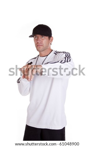 A coach is pointing. - stock photo