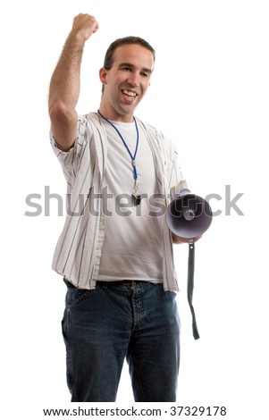 A coach is shaking his fist in the air, excited that his team is winning, isolated against a white background - stock photo