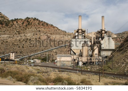 A coal-fired electric power plant in a canyon in southern Utah - horizontal orientation. - stock photo