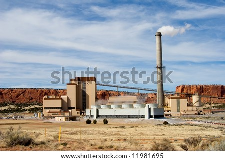A coal fired electric power plant in western New Mexico. - stock photo