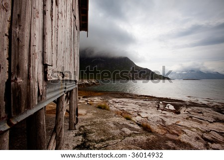 A coastal detail in a small northern fishing village in Norway - stock photo