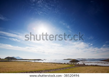 A coastal landscape in northern Norway - stock photo