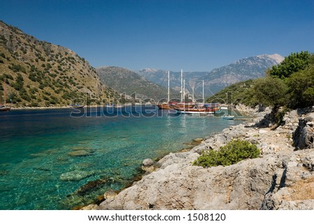 A coastal scene at Gemiler Island, near Fethiye, Turkey - stock photo