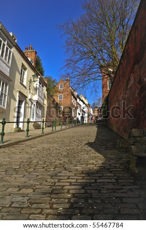 """A cobbled hill in LIncoln, England called """"Steep Hill"""" - stock photo"""