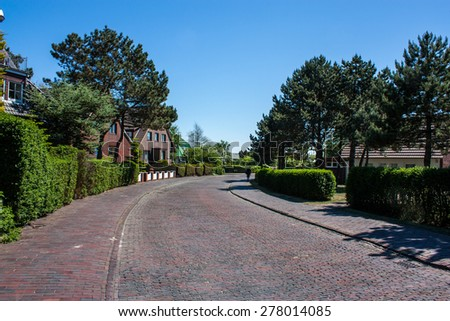 A cobblestone in northern Germany - stock photo